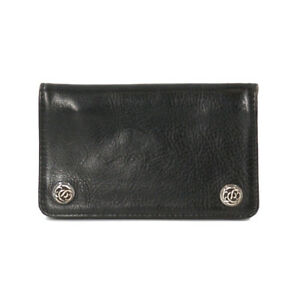 CHROME HEARTS 1Zip Wallet Floral Button Leather Silver 925 Black 90113634