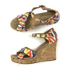 """TOMS Platform Cork Wedge Sandal 8.5 Wide Ankle Strap HIGH HEELS 4"""" Comfort $88"""