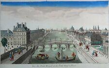 Gravure Kupferstich Antique Print VUE DU PONT ROYAL ET DU PONT NEUF à PARIS