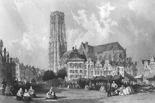 Belgium SAINT RUMBOLD'S CATHEDRAL CHURCH MECHELEN ~ Old 1865 Art Print Engraving