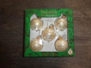 5 Stück Christbaumkugel Weihnachtskugel Glas perlmutt / champagner -NEU!