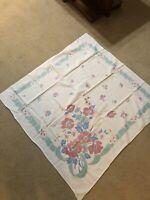Vintage Floral Cotton Tablecloth Aqua/Pink/White 45 x 47