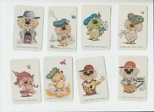 GA4 Vintage  swap  Cards x8  blank back Woofits C1981dogs in caps
