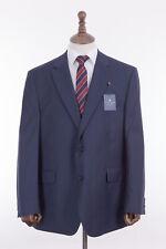 Men's Savile Row Suit Alexandre London Navy Blue Check Regular Fit 46R W40 L32