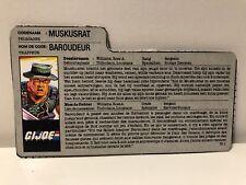 GI JOE Gijoe MUSKRAT Filecard Dutch / French