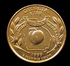 1999 Georgia Gold Plated State Quarter 25c US Coin