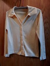 Givenchy Sport Cardigan Sweater Womens Yellow Button Down Qiana Nylon ex cond 34