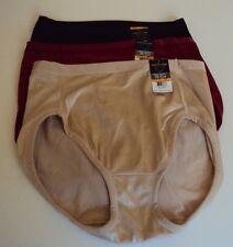 3 Vanity Fair Body Caress Hi-Cut Briefs Style 13137 Size 7 Beige Red Purple