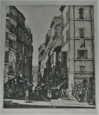 Via del Pianto Rome Etching, Louis Rosenberg Listed Artist