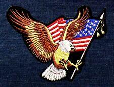 XXL Aufnäher Adler USA Fahne, 34 x 26 cm, Motorrad Indianer Biker Cowboy Patch