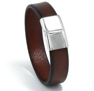 MEN  / Women 16 mm Brown Genuine Leather Band Wristband/ Leather Hand Bracelet