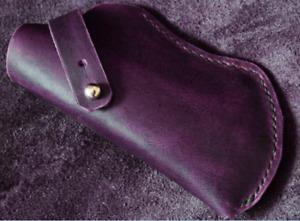 Men women Eyeglass Cases sunglasses Bag pocket Cow Leather Pouch hold purple 735