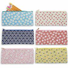 Blue Panda Cute Floral Zipper Pencil Case Pen Makeup Pouch Bags, 9 x 4 Inches