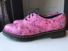 Dr Martens Designer Pink Floral Print Derby Shoe Flat Leather Boot Size 8 42