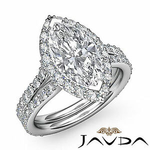 Halo Pave Set Marquise Cut Diamond Engagement Anniversary Ring GIA I SI1 2.36Ct