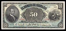 El Banco de Hidalgo 50 Pesos 9.01.1910, M372a / BK-HID-23. Rare condition. VF+