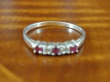 Sterling Silver 925 Ring Size 6 3/4 Pink and Clear Cubic Zirconia Stones Band