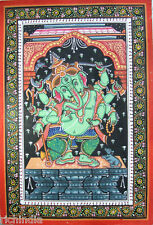 Hindu God Ganesha Hand painted miniature Painting Traditional  rare Art  Yoga