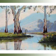 Gercken Large Australian Landscape painting Gum Trees EUCALYPTUS Fine Art