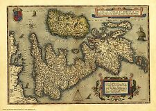 British Isles in 1570 - reproduction of a map by Abraham Ortelius
