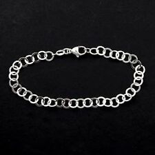 """CHARM BRACELET 925 STERLING SILVER WITH FLAT ROUND LINKS 7.5"""""""