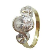 9ct Yellow & White Gold Three Stone Oval & Round White CZ Fancy Engagement Ring