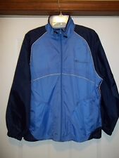 NWT VINTAGE CHAMPION WOMEN'S M LINED FULL ZIP SPELL OUT BLACK & BLUE WINDBREAKER