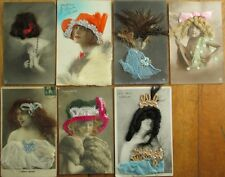 HAIR Applied to SEVEN (7) Realphoto French Fantasy Novelty Postcards, 1907-1920