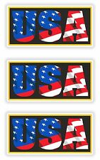 USA American Patriot 3x Stickers United States Flag with Letters Locker Helmet
