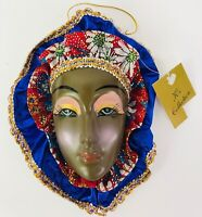Mardi Gras Mask Blue Red Gold African American Ornament New Orleans Lafayette