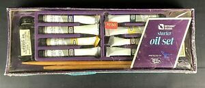 VTG Skylight Studio Oil Starter SET /Box Oil Paints 2 Brushes Linseed Turpentine