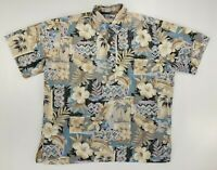 Reyn Spooner Mens Collared Hawaiian Camp Shirt L Short Sleeve Button Down Polo