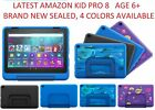 "Amazon Fire 8 Kids Pro 8"" Tablet 32GB age 6+ Blue Doodle Intergalactic Black NEW"