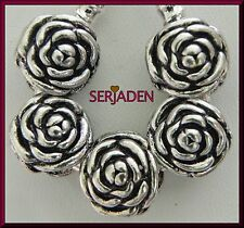5 Rose Double Sided Beautiful Spacer Charms European 12 * 13 mm & 5 mm Hole S039