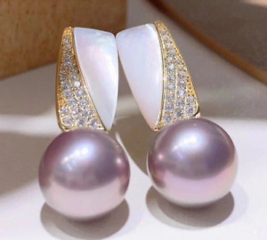 9-10 mm   Natural  round purple south sea  pearl  earrings