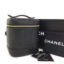 CHANEL CC Logo Caviar Skin Cosmetic Vanity Hand Bag Black /m4