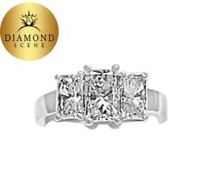 Cttw Radiant Diamond Center 7.25X4. Certified 3 Stone Ring 2.89