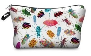 Makeup Bag w/ Black Zipper Funky Print White w/ Multi Color  Insects / Bugs