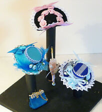 1/12th Scale Individually Handmade Edwardian Hats x 3 + Handbag & Parasol (8)