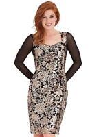 Pale Rose Gold and Silver Sequin Embellished Black Shift Dress Size 10 NEW