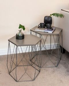 Hexagon side table table - grey
