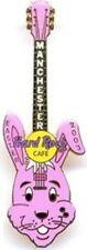 Hard Rock Cafe MANCHESTER 2003 EASTER PIN Pink Bunny Rabbit Head Guitar #17636