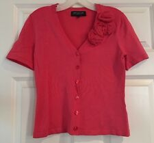 Jones New York Petite Collection V Neck Pink Cardigan Sweater PP *