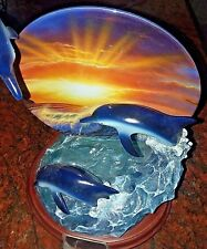 Lassen Dolphins Surfing into Sunset 4th Is. Paradise Discovery, collectible 2000