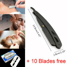 Нержавеющая сталь ручка прямой край парикмахерская бритва складной бритья нож и 10 лезвие