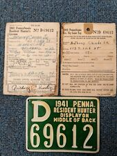 Rare 1941 Pa Hunting License with Big Game deer tag - Minersville, Pennsylvania