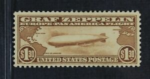 CKStamps: US Air Mail Stamps Collection Scott#C14 $1.30 Mint H OG Spoit Thin