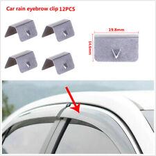 12Pcs Universal Car Auto In Channel Wind/Rain Deflectors Clips Rain Eyebrow Clip