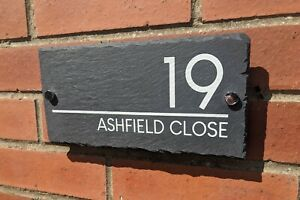 Contemporary Slate House Sign Style 1