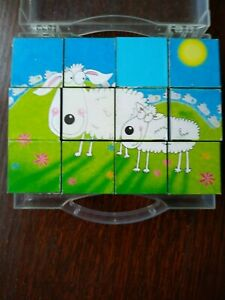 6 Picture Animal Wooden Cube Puzzle Blocks